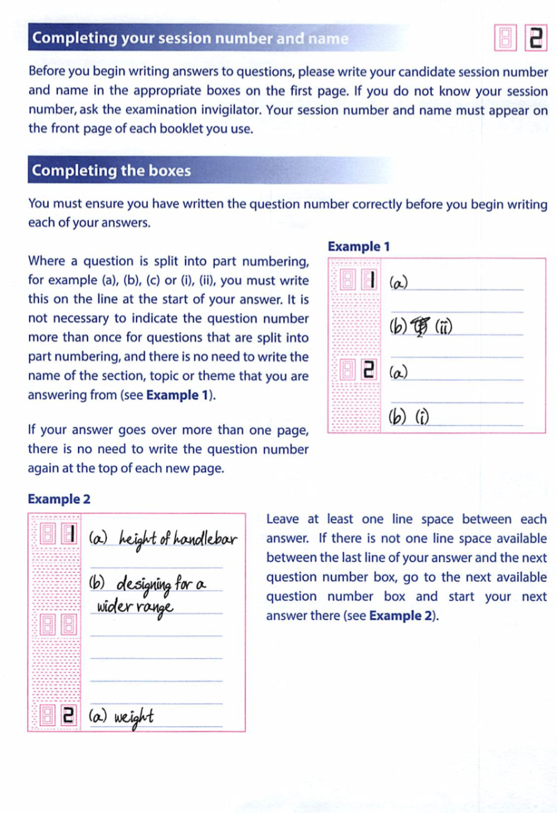 2015 Answer Booklet Guide 2